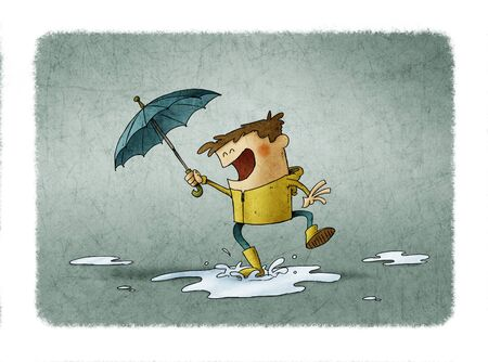 Boy with umbrella and raincoat jumps over a puddle of water. illustration about a rainy day Stockfoto - 138476487