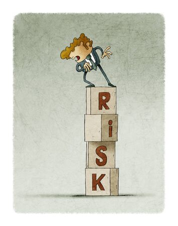 tower of cubes with the word risk in which there is a cautious man who looks down. Stockfoto - 140687102