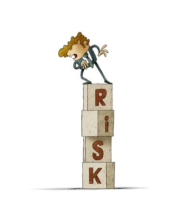 tower of cubes with the word risk in which there is a cautious man who looks down. isolated Stockfoto