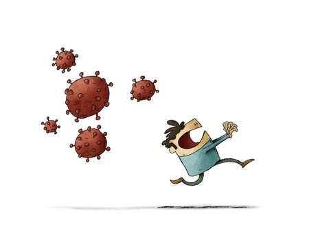 Scared man runs because behind come some very contagious viruses. isolated
