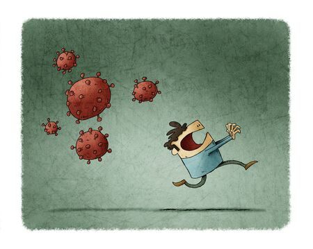 Scared man runs because behind come some very contagious viruses Stockfoto - 140824616