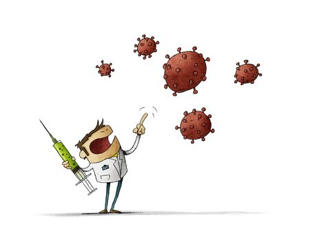 angry scientist with a vaccine in his hand is threatening the nCoV virus. Isolated Stockfoto - 141019928