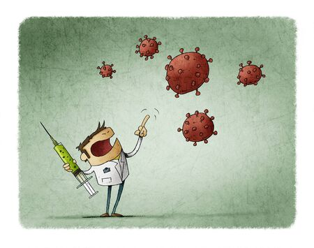 angry scientist with a vaccine in his hand is threatening the nCoV virus