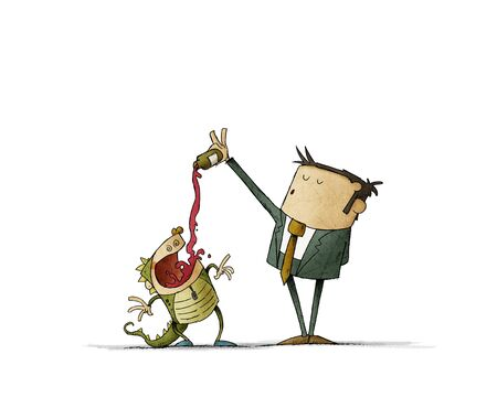father in a suit is giving a lot of syrup to his son who is disguised as a dragon. Concept of child overdosing. isolated Stockfoto
