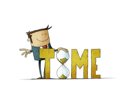 Businessman behind the word time holds a large hourglass. Time control concept. isolated Stockfoto