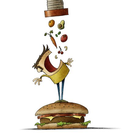 man climbed on top of a large hamburger opens his mouth waiting for a lot of healthy food to fall out of a tube. isolated