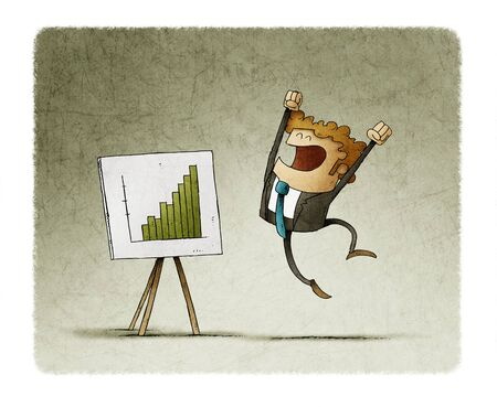 Businessman jumps of happiness when seeing a panel with a graph of good results. Stockfoto - 141082579
