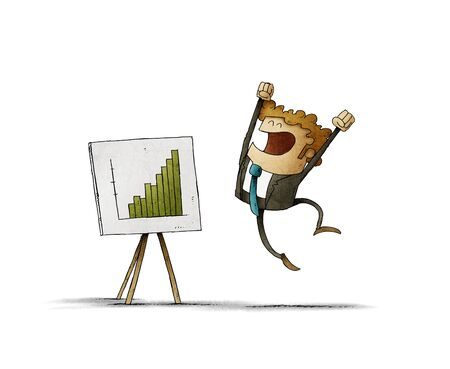 Businessman jumps of happiness when seeing a panel with a graph of good results. isolated