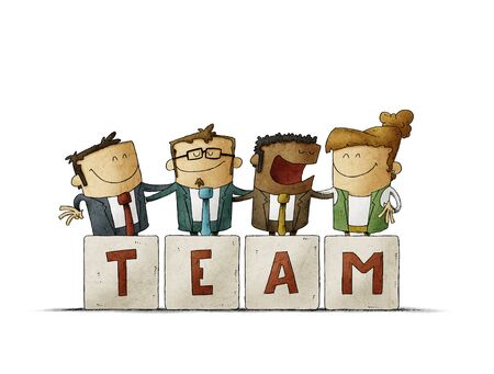 work team are hugging behind some letters that say team. isolated Stockfoto - 141082519