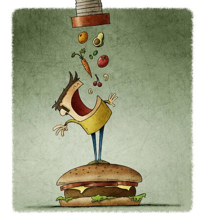 man climbed on top of a large hamburger opens his mouth waiting for a lot of healthy food to fall out of a tube. Stockfoto