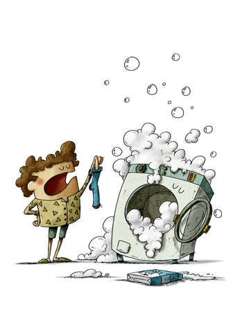 Washer that loses socks. illustration of a boy showing a sock to a funny washing machine that has swallowed the other one. isolated Reklamní fotografie