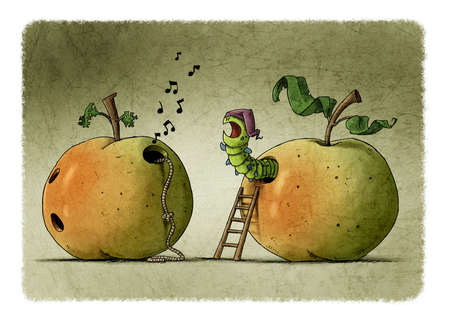 worm that lives inside an apple is angry because another neighboring worm won't let him sleep.