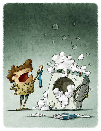 Washer that loses socks. illustration of a boy showing a sock to a funny washing machine that has swallowed the other one. Reklamní fotografie