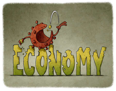 coronavirus character is sitting on top of the word economy while eating it. economy and covid19 concept