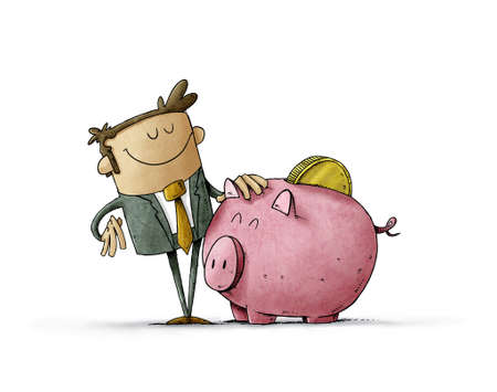 illustration of Businessman with a mascot that is a big piggy bank with a coin on his back. Concept of loving savings. isolated