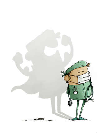 illustration of health personnel standing has a shadow of himself projected in the shape of a superhero. white background