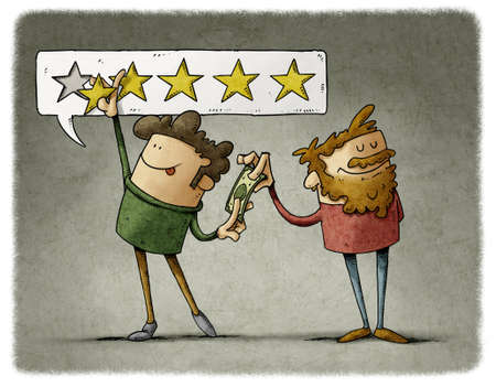 Consumer experience manipulation concept. illustration of seller is paying money to a buyer to increase the rating