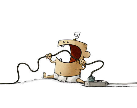 illustration of baby is biting a cord that is plugged into the electricity networks. Home electrical hazards. isolated