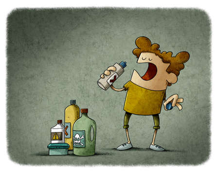 illustration of little boy is going to drink detergent from a bottle. home hazards.