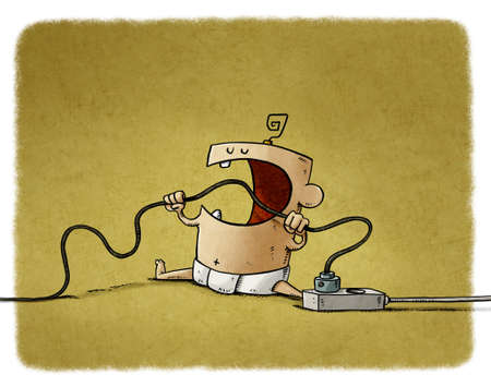 illustration of baby is biting a cord that is plugged into the electricity networks. Home electrical hazards. Stockfoto