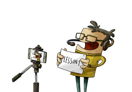 illustration of illustration of teacher teaching the online lesson recording himself with a tripod and a mobile. isolated
