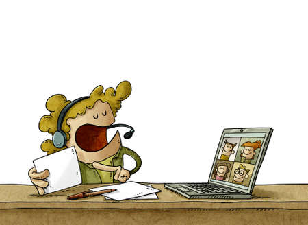 illustration of teacher is teaching her students the lesson by videoconference through a laptop. isolated Stockfoto