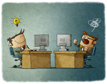 illustration of businessmen working at their desks, one is lucid and happy and the other is confused and angry. business mood concept.