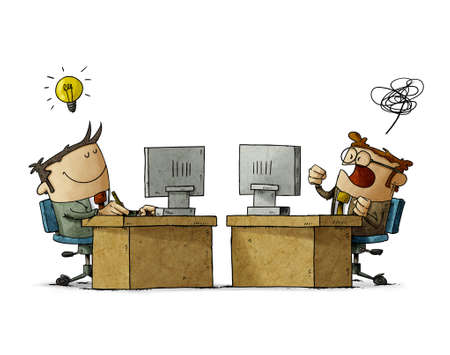 illustration of businessmen working at their desks, one is lucid and happy and the other is confused and angry. business mood concept. isolated