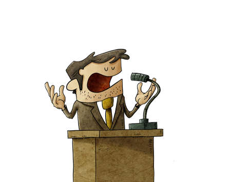 illustration of businessman or politician is giving a campaign speech, he is serene and calm. isolated