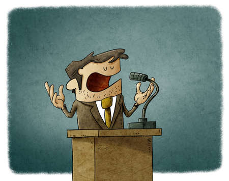 illustration of businessman or politician is giving a campaign speech, he is serene and calm.