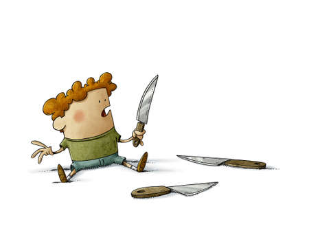 illustration of a very young child has picked up a knife and has it in his hand with the danger of cutting himself. isolated