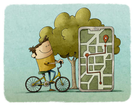 illustration of person riding a bike is next to a huge mobile where you can see the route he has made and the point where it is