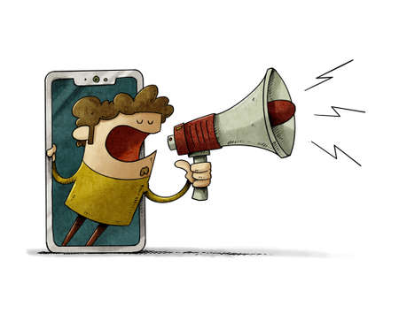 illustration of a man looks out through a mobile screen with a megaphone in his hand announcing something. news or notification concept. isolated Stockfoto