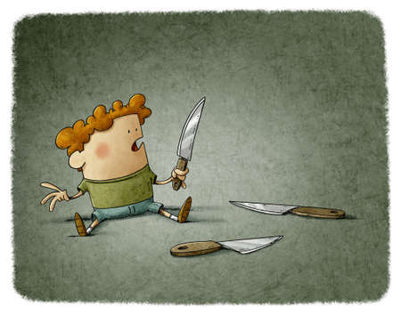 illustration of a very young child has picked up a knife and has it in his hand with the danger of cutting himself. Stockfoto