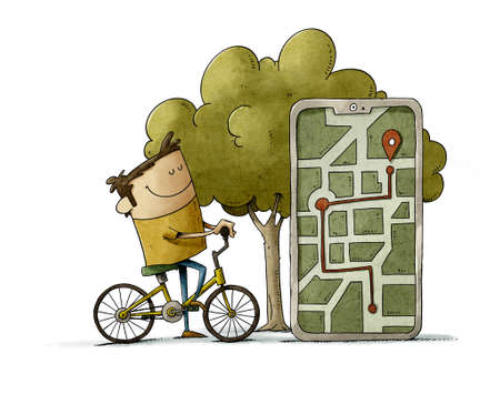 illustration of person riding a bike is next to a huge mobile where you can see the route he has made and the point where it is. isolated Stockfoto