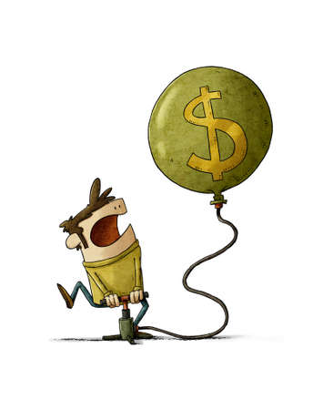 illustration of a man who is inflating a huge balloon with the dollar symbol. isolated