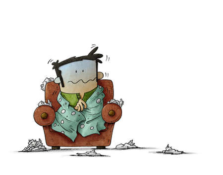 illustration of Sick man sitting in an armchair surrounded by tissues. Seasonal allergy. man shivering with cold. isolated
