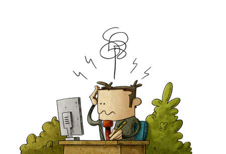 illustration of businessman looks at his computer worried and with a headache from overwork. isolated