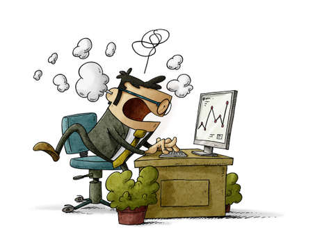 cartoon illustration of businessman in his office works very stressed while smoke comes out of his head. isolated