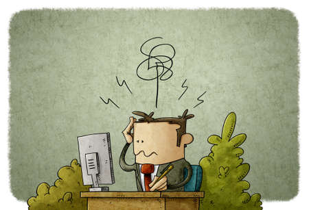 illustration of man in front of the computer at his workplace and complains of headache Stockfoto