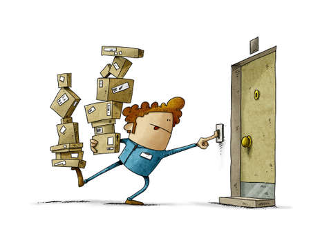 illustration of delivery man balancing two stacks of many boxes while trying to ring the doorbell. home delivery, in uniform. isolated