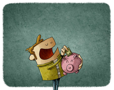 illustration of a man holding a piggy bank in which he is putting his savings