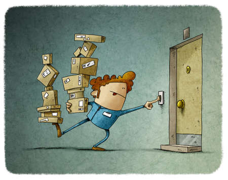 illustration of delivery man balancing two stacks of many boxes while trying to ring the doorbell. home delivery, in uniform Stockfoto