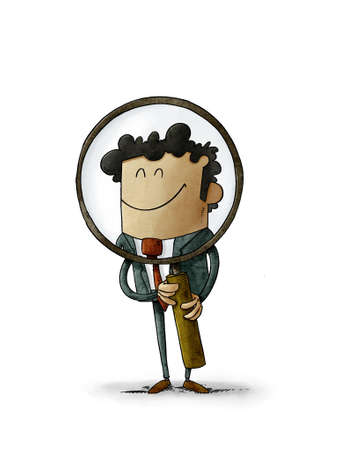 illustration of a man who is holding a large magnifying glass through which he looks smiling. search concept, isolated Stockfoto
