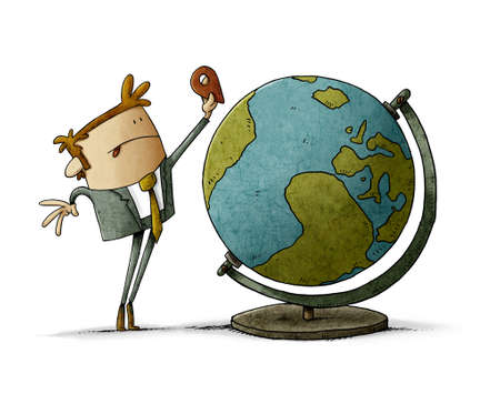 illustration of man putting a location icon somewhere on the globe. isolated