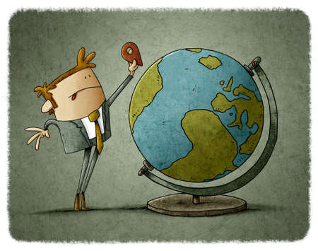 drawing of man putting a location icon somewhere on the globe