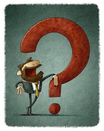 illustration of businessman leaning on a big red question mark. Stockfoto