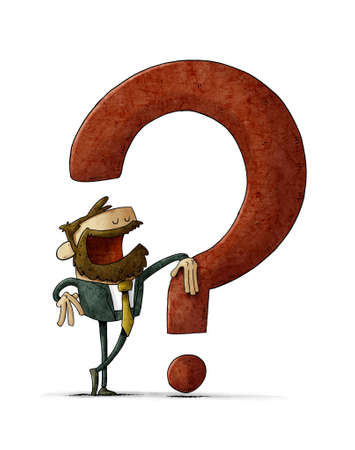illustration of businessman leaning on a big red question mark. isolated