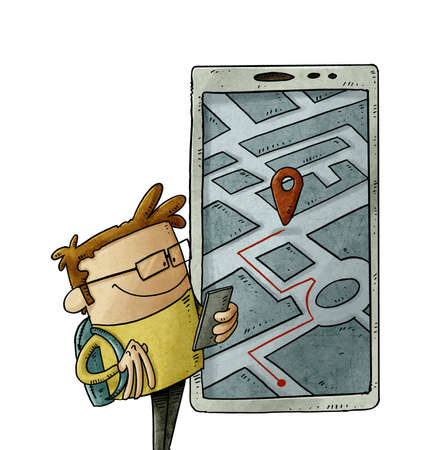 illustration of cartoon person is looking at his smartphone to know his location. Geolocation usage concept. isolated