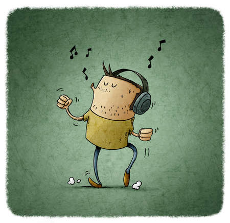 illustration of man with headphones on his head is listening to music while dancing and whistling